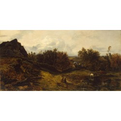 View on the Outskirts of Granville,Theodore Rousseau,80x40cm