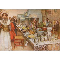 Christmas Eve Banquet,Carl Larsson,60x40cm
