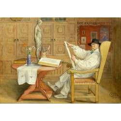 self-portrait in the Studio,Carl Larsson,60x43cm