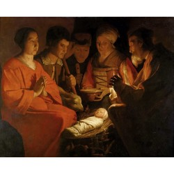 The adoracion of the shepherds,Georges de La Tour,50x40cm