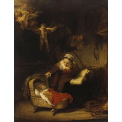 The Sacred Family with angeles,Rembrandt,50x38cm