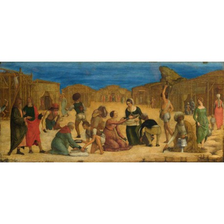 The Gathering of the Manna,Ercole Roberti,28.9x63.5cm