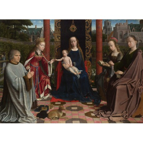 THe Virgin and Child with Saints and Donor,Gerard David,50x36cm