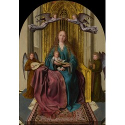 The Virgin and Child Enthroned,with,Quentin Massys,62.2x43.2cm