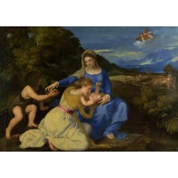 The Virgin and Child with Saint John the Baptist,Titian,60x40cm