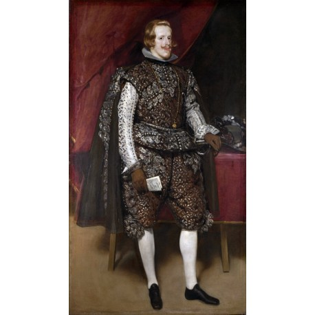 Philip IV of Spain in Brown and Silver,Diego Velazquez,60x34cm