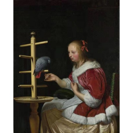 A Woman in a Red Jacket,Frans Van Mieris The Elder,50x40cm