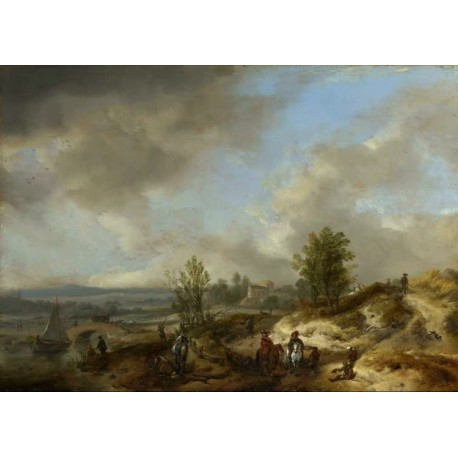 A Dune Landscape with a River and Many,Philips Wouwerman,50x36cm
