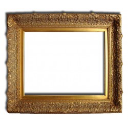 Beveled mirror in solid wood, 57x67 cm