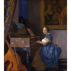 A Young Woman Seated at a Virginal,Johannes Vermeer,50x44cm