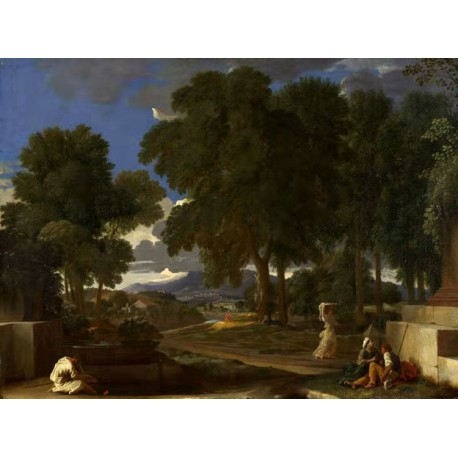 Landscape with a Man Washing His Feet at,Nicolas Poussin,50x37cm