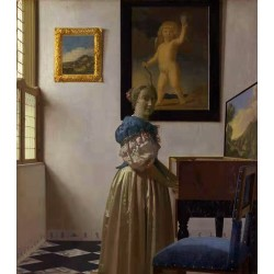 A Young Woman Standing at a Virginal,Johannes Vermeer,50x44cm