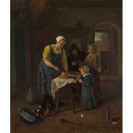A Peasant Family at Mel-time,Jan Steen,44.8x37.5cm