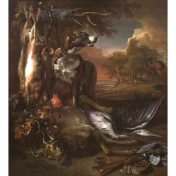 A Deerhound with Dead Game and Implements,Jan Weenix,50x45cm