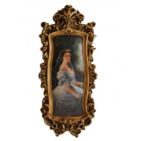 Elegant woman painting with fantastic frame, size 79x34x4 cm