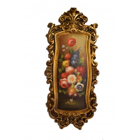 Floral painting with fantastic frame, whole size 79x34x4 cm