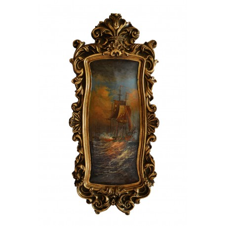 Seascape painting with fantastic frame, whole size 79x34x4 cm