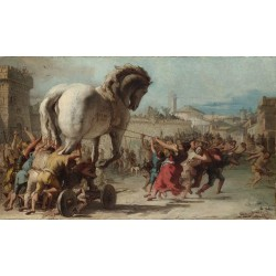 The Building of the Trojan,Giovanni Domenico Tiepolo,60x35cm