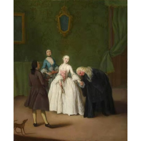 A Nobleman Kissing a Lady-s Hand,Pietro Longhi,50x40cm