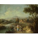 Landscape with a Group of Figures Fishing,Giuseppe Zais,50x38cm