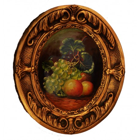 Fruits painting with fantastic frame, whole size 38x31x4 cm
