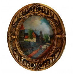 Europe city painting with fantastic frame, whole size 38x31x4 cm