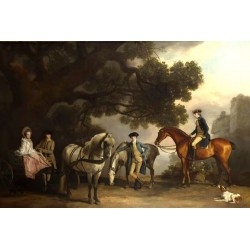 The Milbanke and Melbourne Families,George Stubbs,60x40cm