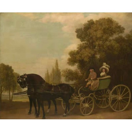 A Gentleman Driving a Lady in a Phaeton,George Stubbs,50x40cm