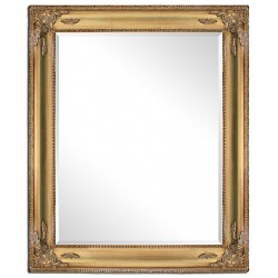 Heavy beveled mirror in solid wood, 20x24 ins