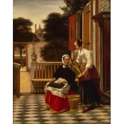 Mirstress and Maid,Pieter de Hooch,53x42cm