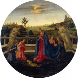 The Adoration of the Infant Christ,Filippino Lippi,50x50cm