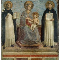 Madonna and Child with St Dominic and St,Fra Angelico,50x48cm