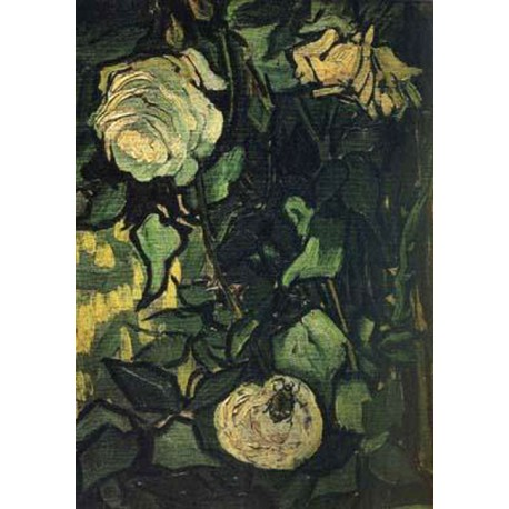 Roses and Beetle,Vincent Van Gogh,33.5x24.5cm