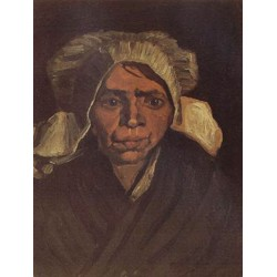 Head of a Peasant Woman with White Cap,Vincent Van Gogh