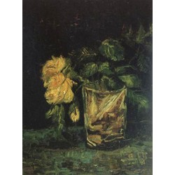 Glass with Roses,Vincent Van Gogh,35x27cm