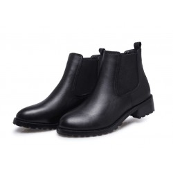 Black boots with real cow leather, 13 cm shaft
