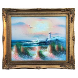 Lighthouse and sea, oil painting with frame, 40x50 cm