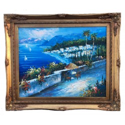 Medelhavet Mediterranean, oil painting with frame, 40x50 cm