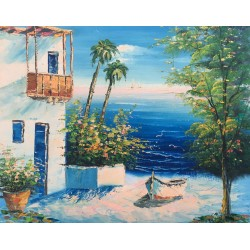 Mediterranean, oil painting on wooden pannel, 40x50 cm