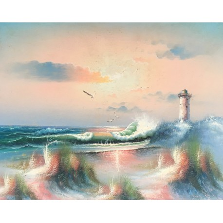 Lighthouse on the sea, oil painting on wooden pannel, 40x50 cm
