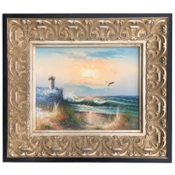 Sea with lighthouse, oil painting with frame, 20x25 cm