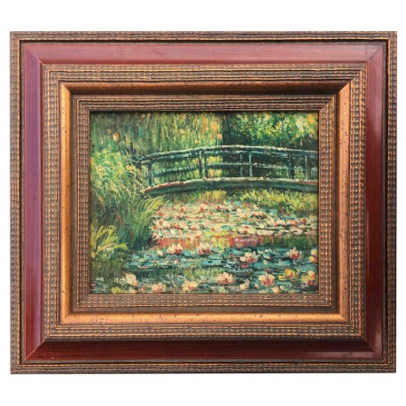 Lilies pond, oil painting with frame, 20x25 cm