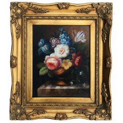 Floral flowers, oil painting with frame, 20x25 cm