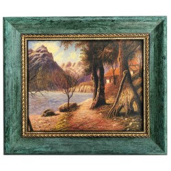 Landscape, oil painting with frame, 20x25 cm