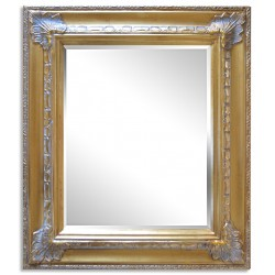 Beveled mirror with solid wood, 26x31 ins