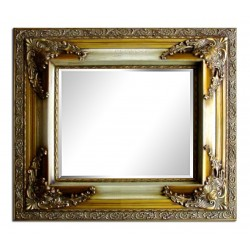 Beveled mirror with solid wood, 29x33 ins or 72x82 cm