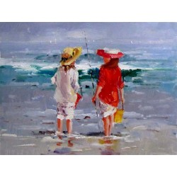 Children on beach, oil painting on canvas, 30x40 cm