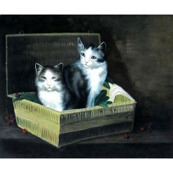 Two cats oil painting on canvas