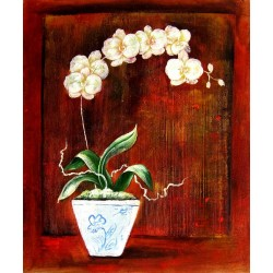 Orchid oil painting on canvas