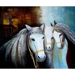 Three horses oil painting on canvas